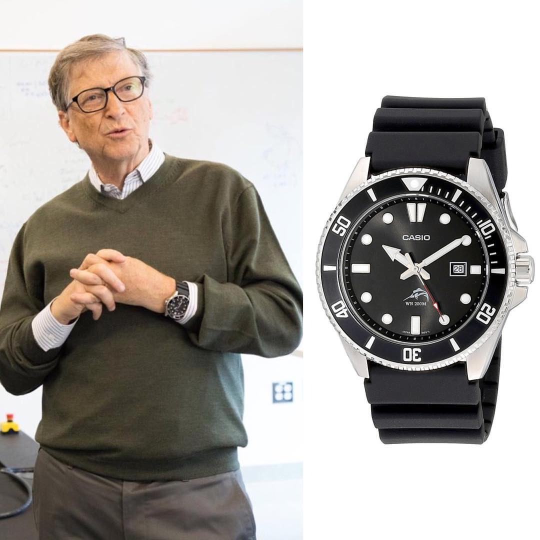 Billionaire Bill Gates wears $50 Casio watch