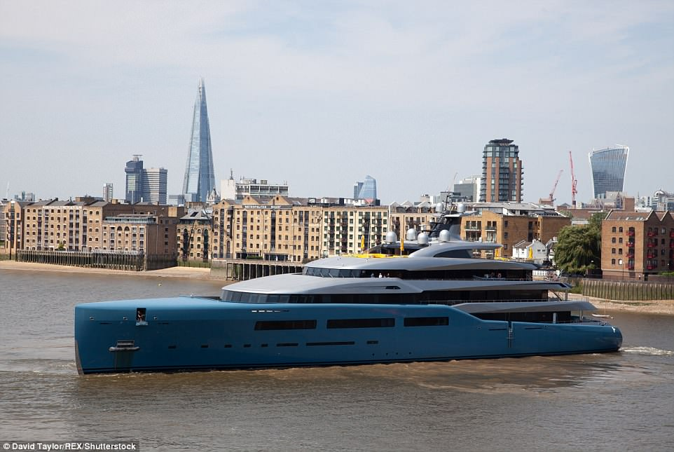 Billionaire's Yacht in narrow River in London