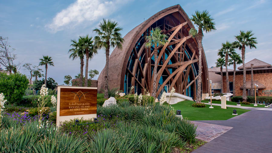Luxury resort off Doha coast, shaped like Banana