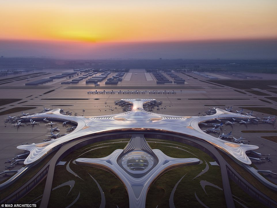 China airport design shaped like a snowflake