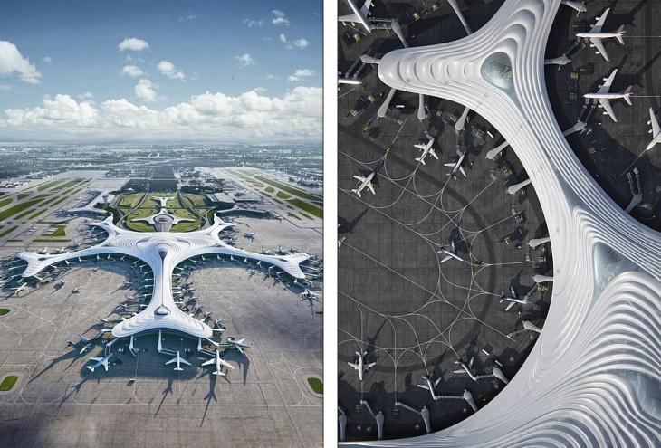 China airport design shaped like a snowflake