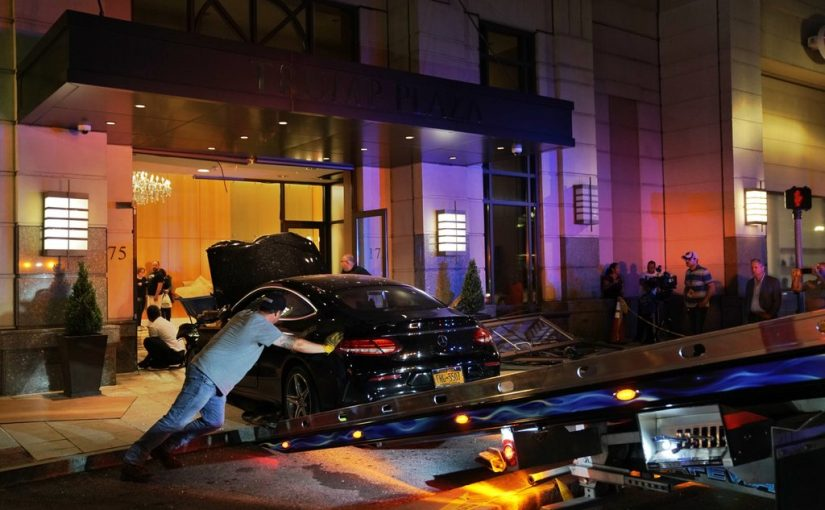 Expensive Mercedes crashes into Trump Plaza